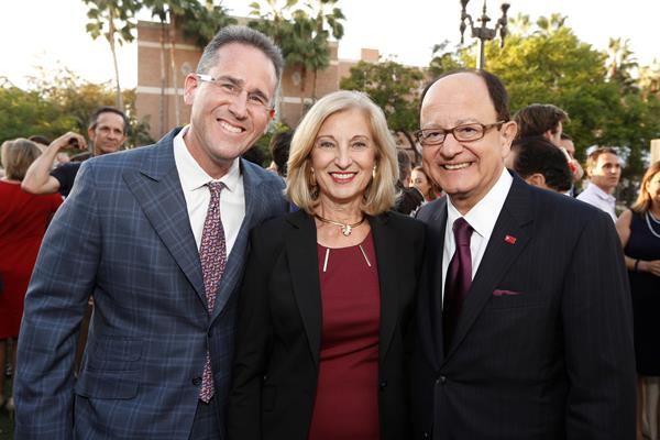 From left, Steve Braverman, Niki Nikias and USC President C. L. Max Nikias on campus. Photo by Steve Cohn.
