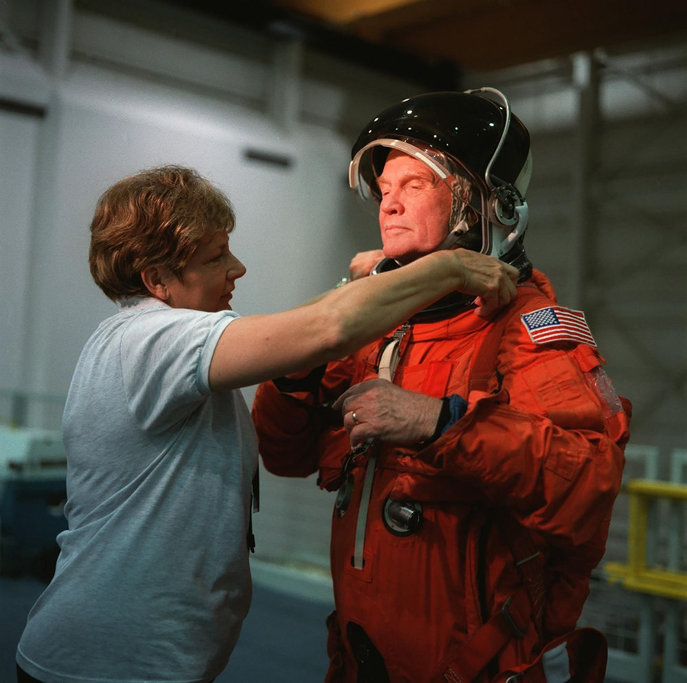 Then-Senator Glenn joined the STS-95 Discovery crew in 1998, becoming the oldest person to fly in space at 77.