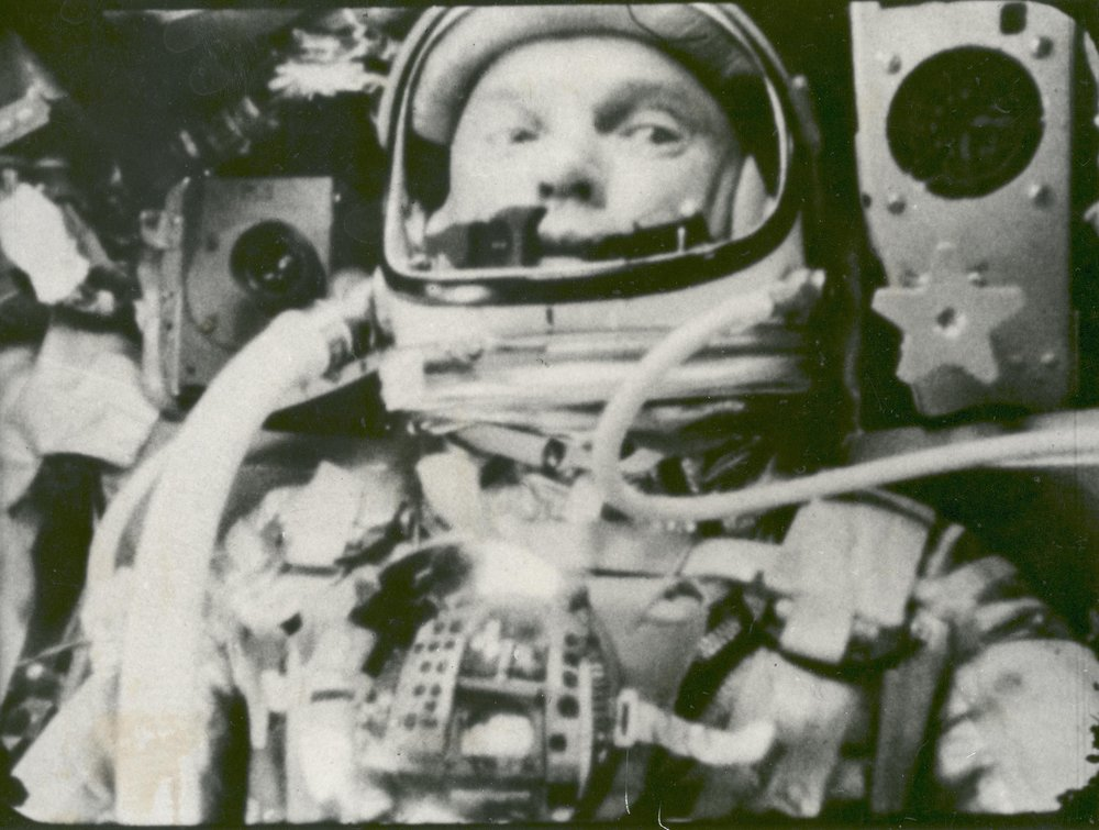 Astronaut John Glenn photographed in space by an automatic sequence motion picture camera during his flight on Friendship 7. Glenn was in a state of weightlessness traveling at 17,500 mph as these pictures were taken.