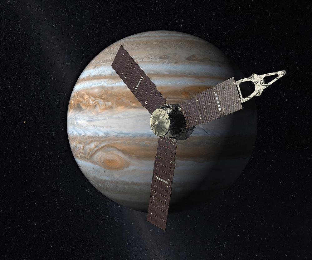 Rendering of Juno orbiting Jupiter