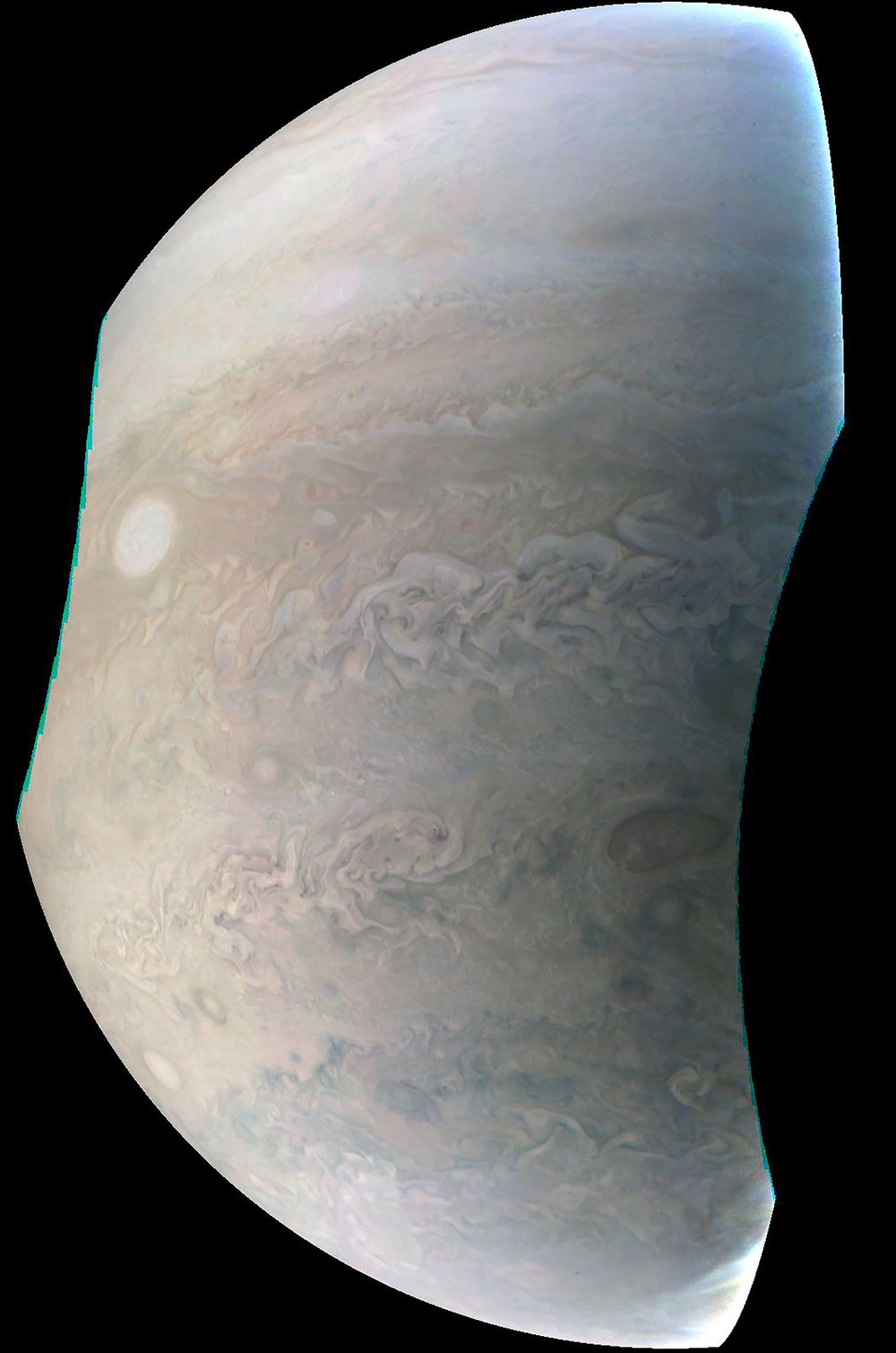 Caltech/SwRI/MSSS -This image, taken by the JunoCam imager on NASA's Juno spacecraft, highlights the seventh of eight features forming a 'string of pearls' on Jupiter.