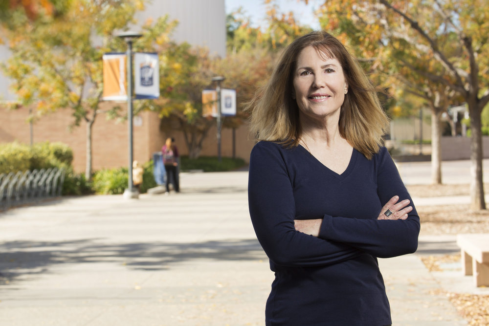 Ruth H. Yopp-Edwards on the campus of Cal State Fullerton, where she studied as an undergrad and is now a full professor of bilingual and elementary education. She is receiving a career honor from the CSU.