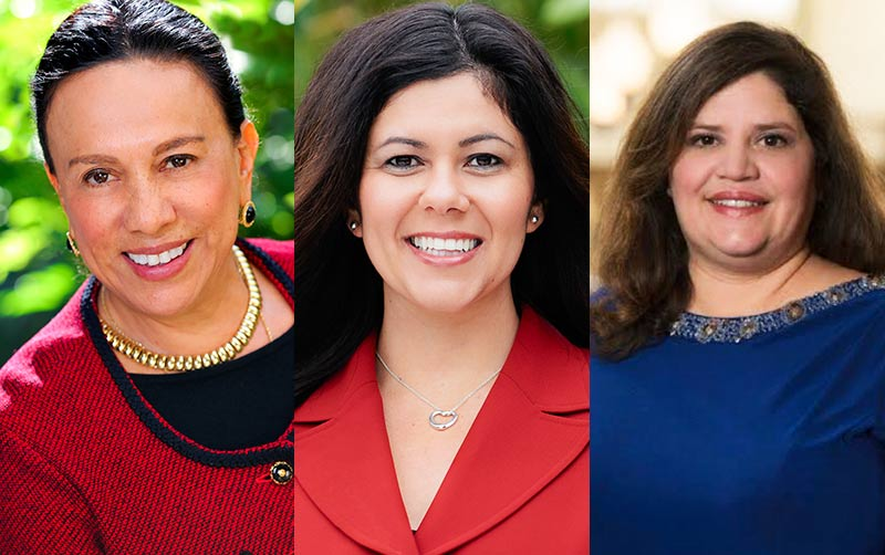 """From left, Antonia Hernandez, Santa Ana Mayor Pro Tem Michele Martinez and Helen Torres are among nine women featured in """"Voces de Liberación: Latinas and Politics in Southern California,"""" an oral history exhibit at CSUF's Pollak Library through June."""