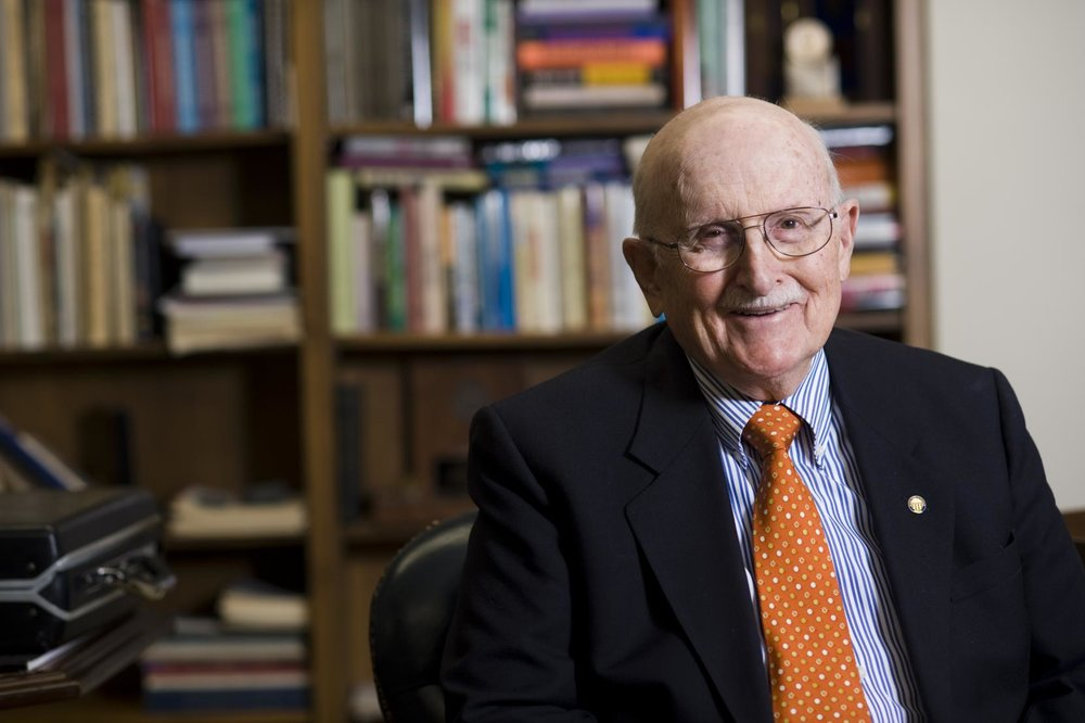 Dr. Peter T. Flawn, president emeritus, UT Austin. Photo credit: Jackson School of Geosciences.