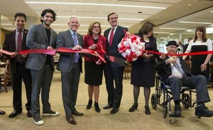 LaGuardia Community College Library Expansion Ribbon-Cutting on May 11, 2017. Pictured (from l to r): Shahir Erfan, LaGuardia Vice President for Administration; Jonathan Morales, LaGuardia student; City Council Majority Leader Jimmy Van Bramer; LaGuardia President Gail O. Mellow; New York State Senator Michael Gianaris; CUNY Vice Chancellor for Facilities Planning, Construction and Management Judith Bergtraum; and Scott White, LaGuardia Chief Librarian, and his wife. High-resolution available upon request. Photo credit: LaGuardia Community College.