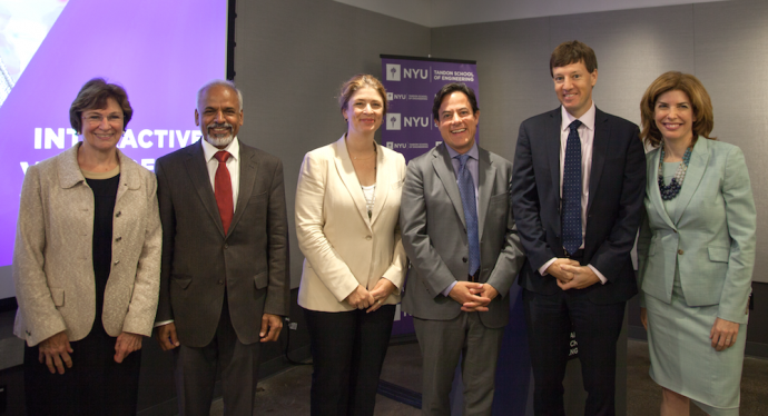 Alicia Glen, Deputy Mayor of Housing & Economic Development, unveiled the new virtual reality and augmented reality hub at NYU Tandon School of Engineering. From left: Jane MacKillop, Interim Dean of Lehman College's School of Continuing and Professional Studies; Katepalli R. Sreenivasan, Dean of NYU Tandon; Glen; Council Member Dan Garodnick, Chair of the Committee on Economic Development; James Patchett, NYCEDC President and CEO; and Julie Menin, Media and Entertainment Commissioner. PHOTO COURTESY OF NYU TANDON SCHOOL OF ENGINEERING