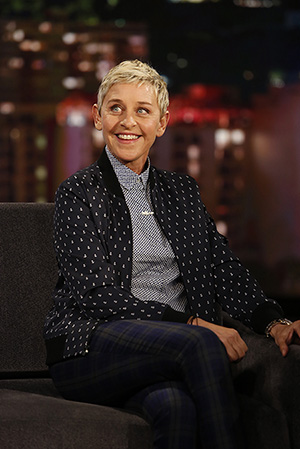 "Ellen DeGeneres on ""Jimmy Kimmel Live: Game Night"" (ABC/Randy Holmes)"