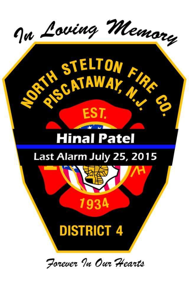 The vehicle stickers that were designed and printed for members of the North Stelton Volunteer Fire Company, where Hinal was a dedicated member, and family.
