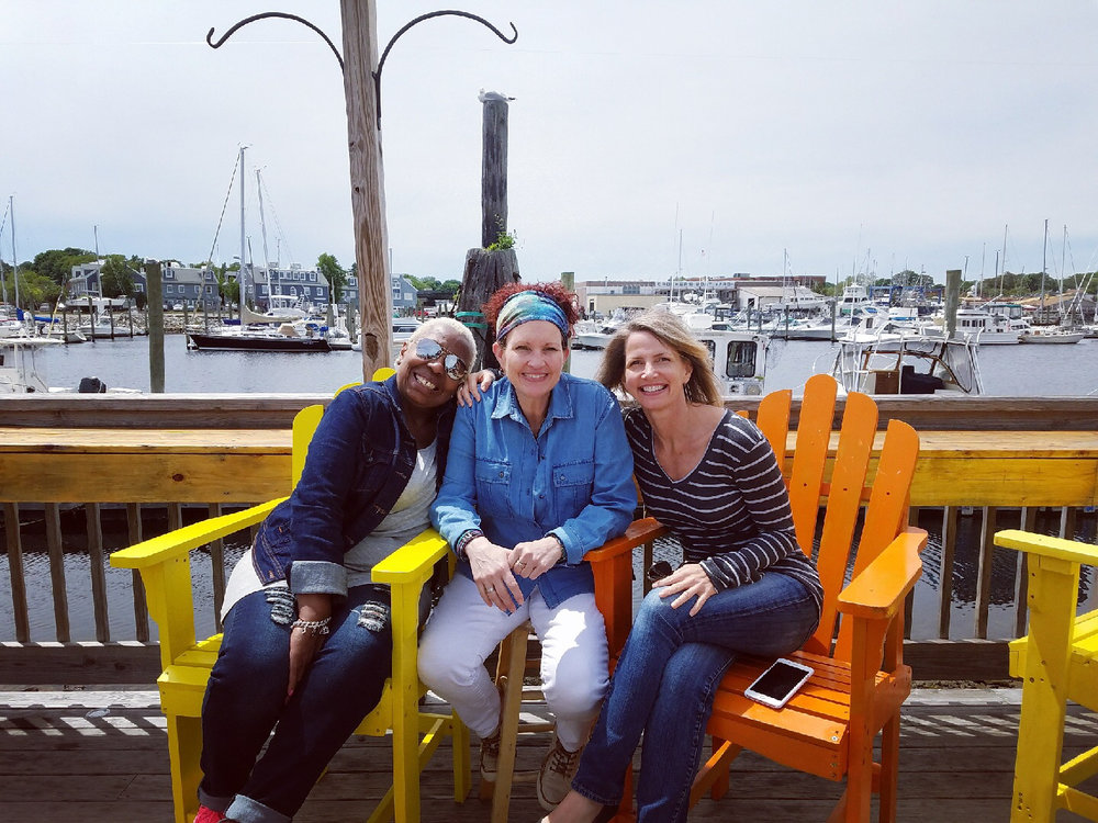 Taking advantage of a free afternoon in Mystic with Pam Gordon-Superville (left) and Robin Cullen (center). Pam and Robin met while incarcerated at York Correctional, where they both participated in novelist Wally Lamb's creative writing program. These days, Pam and Robin are deeply involved in prison reform advocacy work.