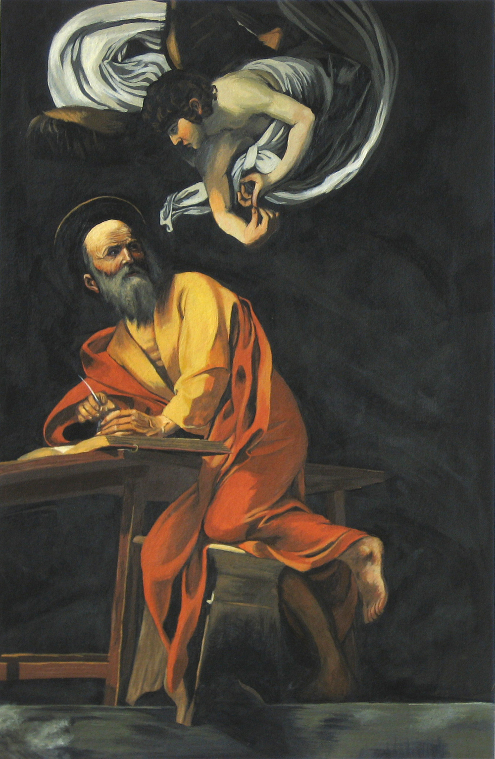 "Caravaggio's ""Inspiration of Saint Matthew"""