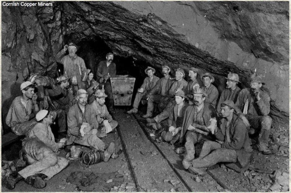 Cornish copper miners. Credit miningartifacts.org