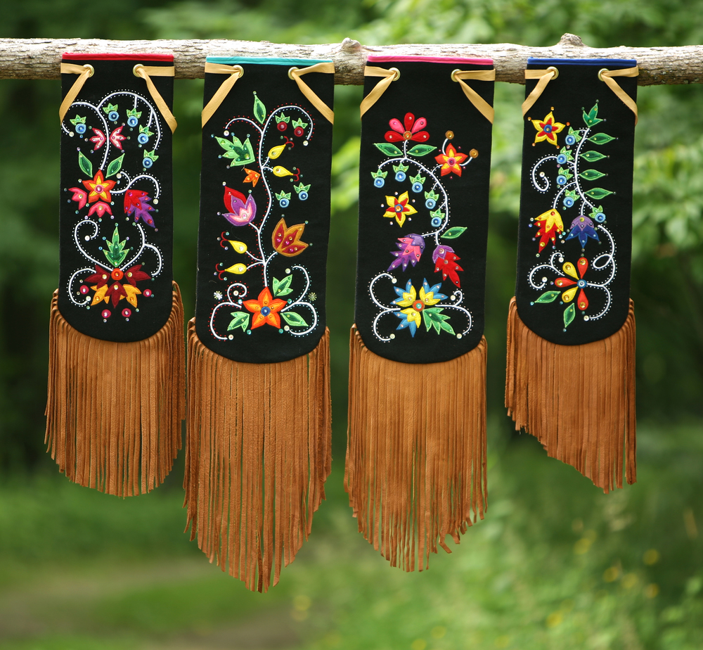 Four Traditional Anishinaabe / Ojibwe Woodland Pipe Bags, 2012