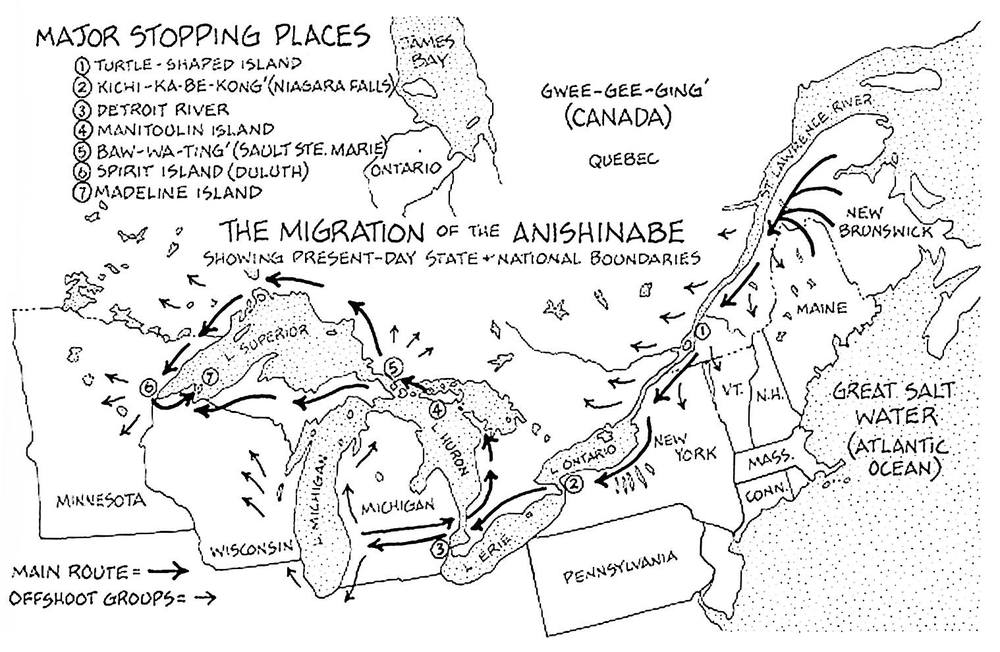 "Migration of the Anishinaabe that also represents the main waterway from which the Voyageurs made their way from the Eastern coast to the Great Lakes.  It also indicates the Native tribes they met along the way and to whom the Great Lakes is called home. (Map: The Mishomis Book, ""The Voice of the Ojibway"" by Edward Benton-Benai.)"