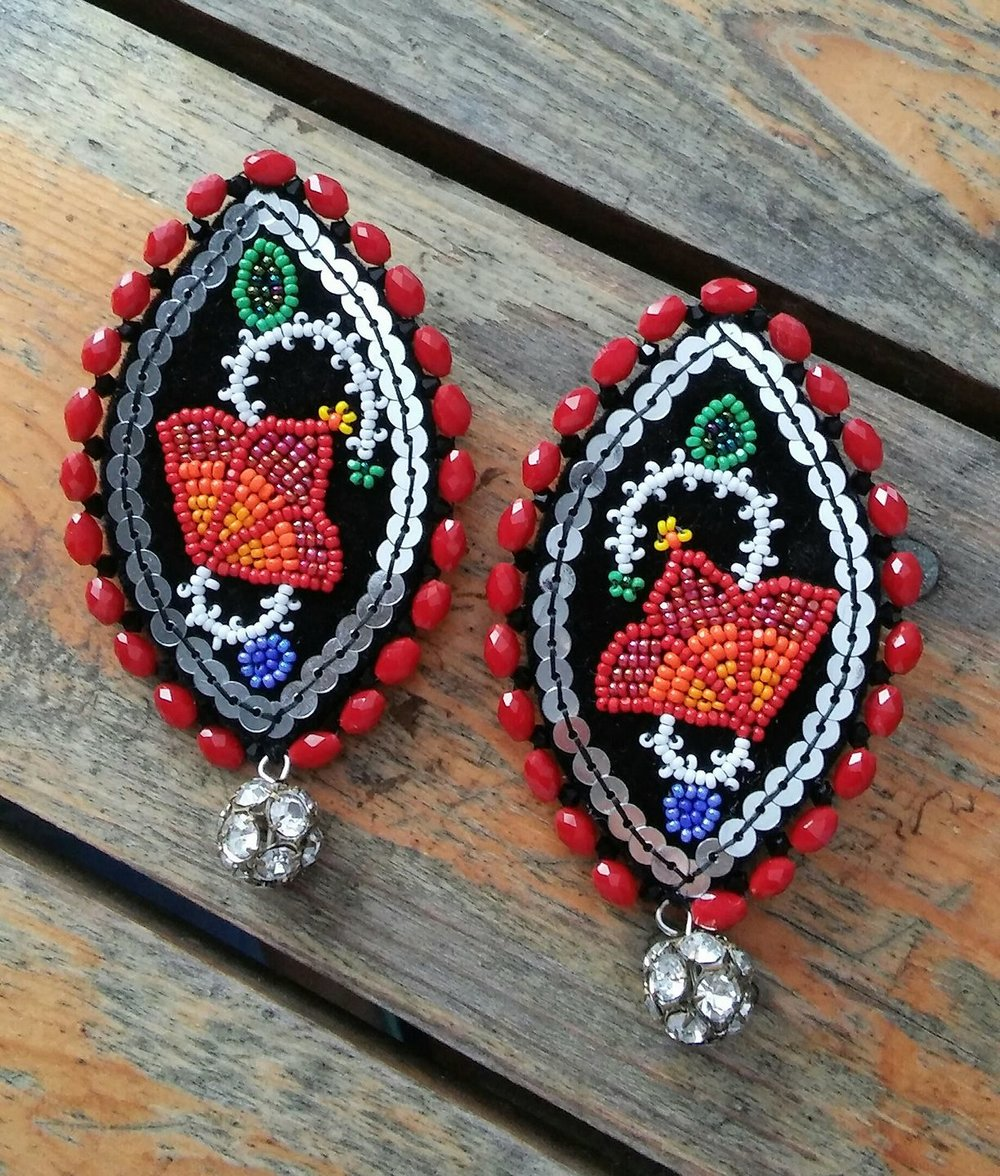 Ojibwe Red Floral Earrings
