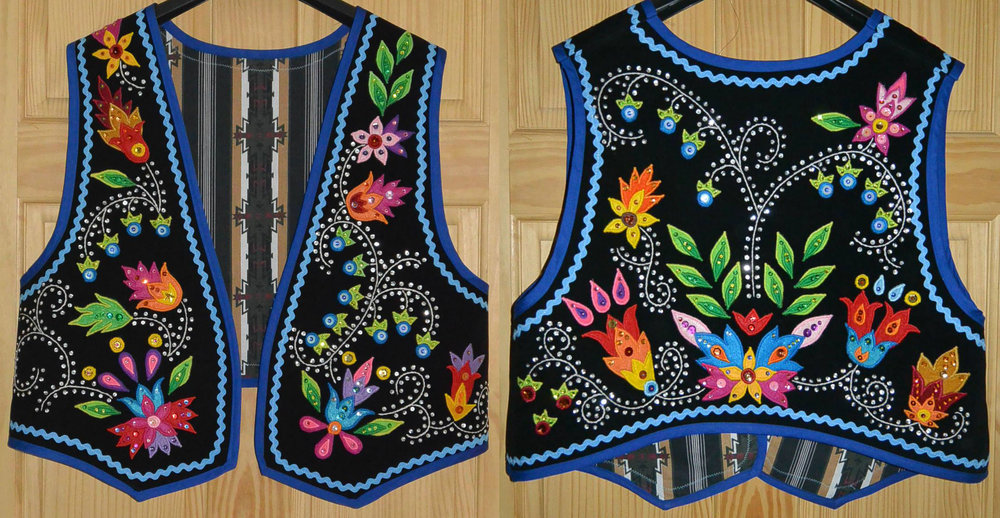Mens Anishinaabe Floral Vest
