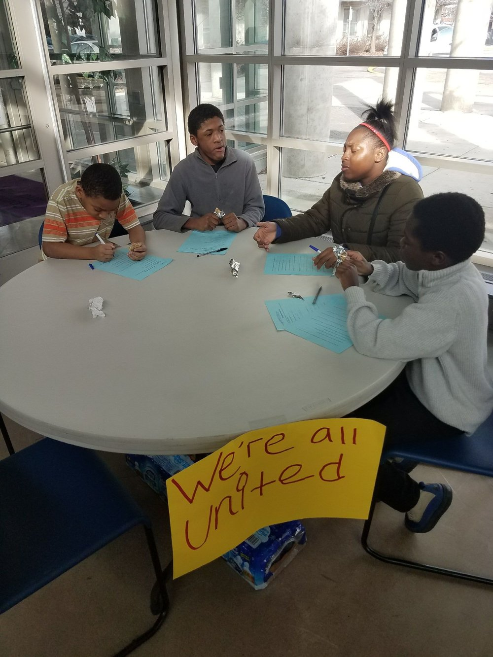 "Students from Chalmers, Dvorak, and DePriest Elementary Schools at the ""Take Action!"" event in Homan Square on February 11, 2017"