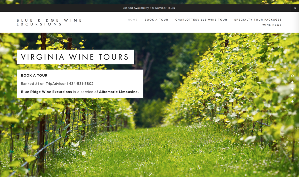 Website Design - Blue Ridge Wine Excursions