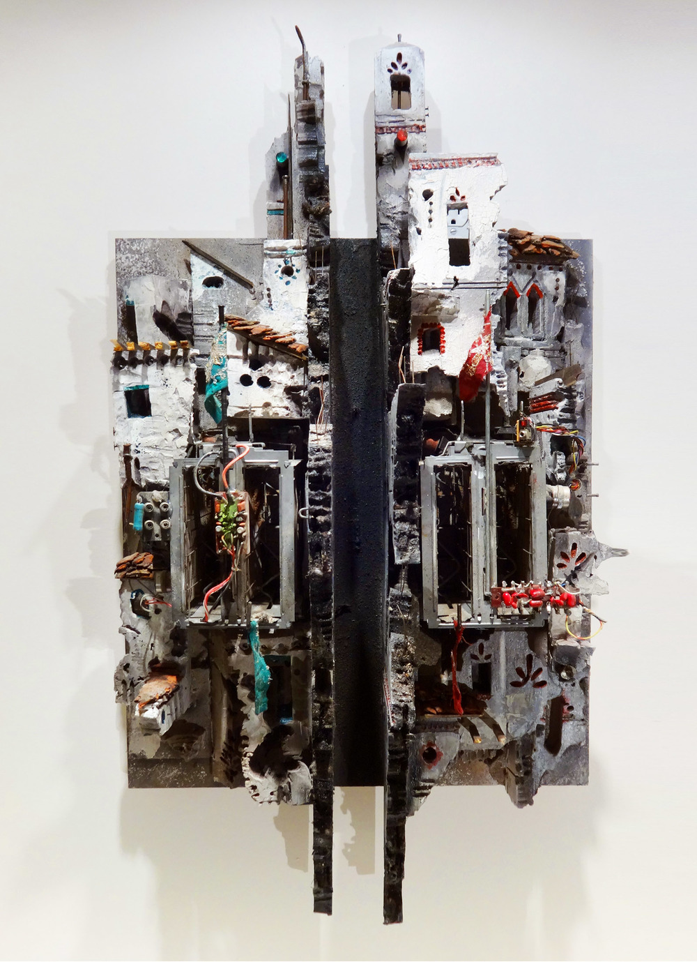 Mohamad Hafez,  Internal Conflict , 2014    Plaster, Rigid Foam, Paint, Fabric, Antique Toaster, Found Objects    30 x 24 x 12 inches    $20,000