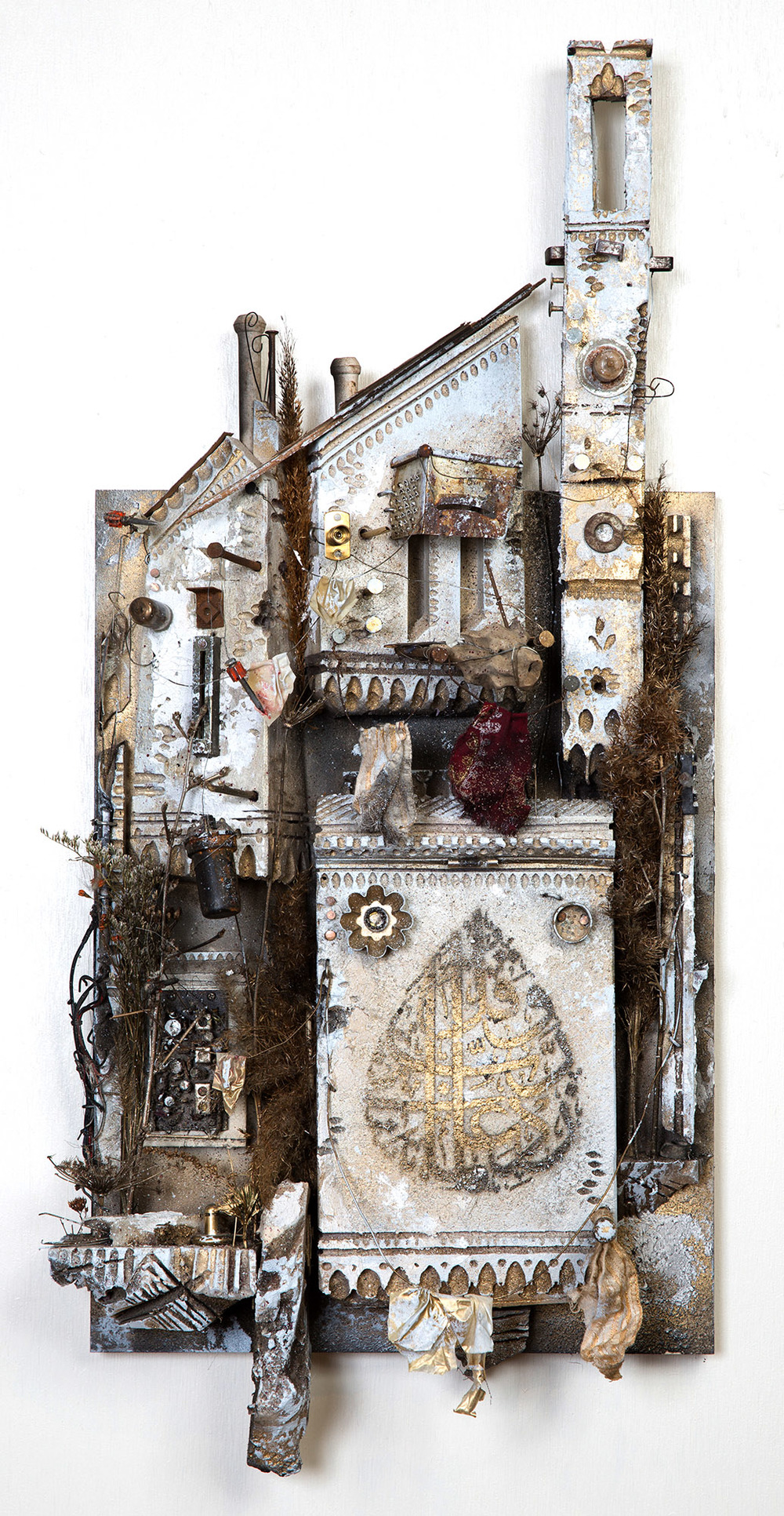 Mohamad Hafez,  Oh My God, Increase My Knowledge , 2016    Plaster, Rigid Foam, Paint, Rusted Metal, Fabric, Found Objects    36 x 15 x 6 inches    $3,800