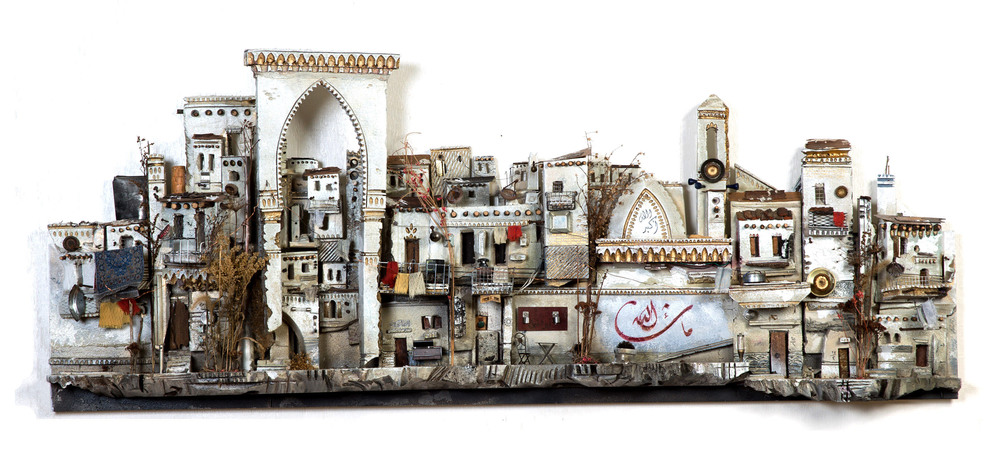 Mohamad Hafez,  Unsettled Nostalgia , 2015    Plaster, Rigid Foam, Paint, Fabric, Found Objects    12 x 60 x 8 inches    $33,000