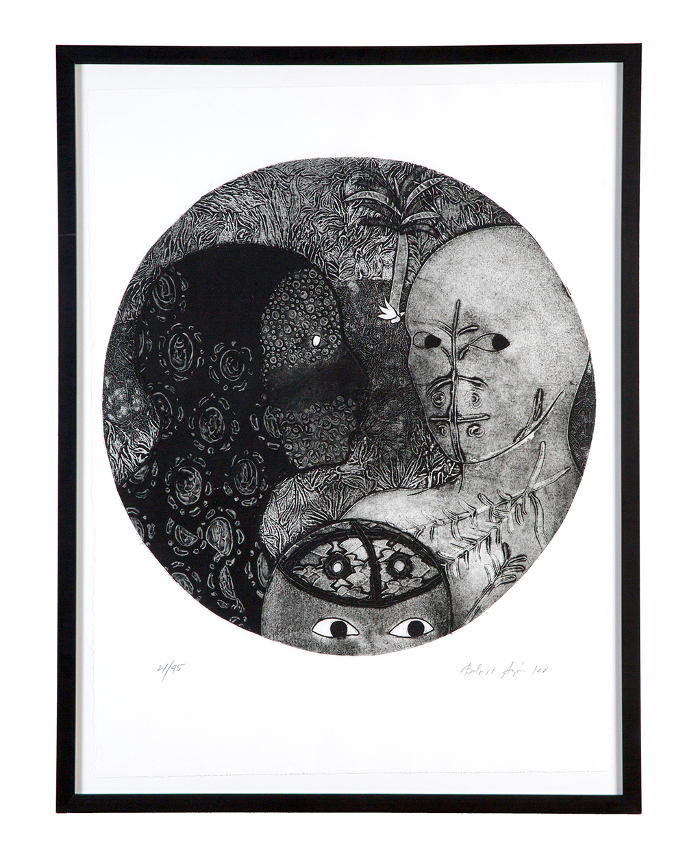 "Belkis Ayón,  Untitled  (from the ""Cuban Print Portfolio""), 1998 Collagraph printed intaglio on etching press with one color' one hand applied white, 30 x 22 inches Edition 19 of 45, with 5 APs"