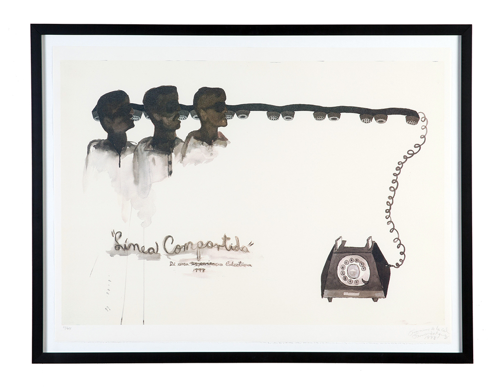 Fernando Rodríguez,  Línea Compartida  (from the Cuban Print Portfolio), 1998 Flatbed offset lithograph in 5 colors, 30 x 22 inches Edition 19 of 45, with 5 APs