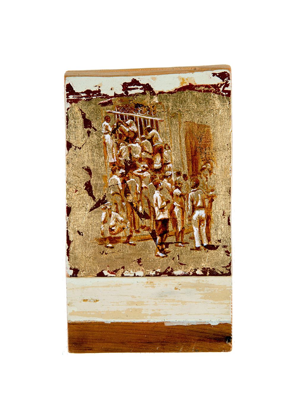 José Toirac,  Untitled Gold Leaf , 2009 Based on Walker Evans photographs of Cuba, 1933 Acrylic on laminated wood with gold leafing, 10-1/2 x 6 inches