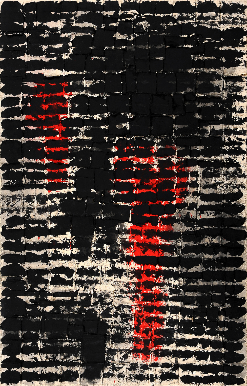 Roberto Diago , No. 5  (from the series  Entre Lineas ), 2012 Mixed media on canvas, 39-3/8 x 24-5/8 inches