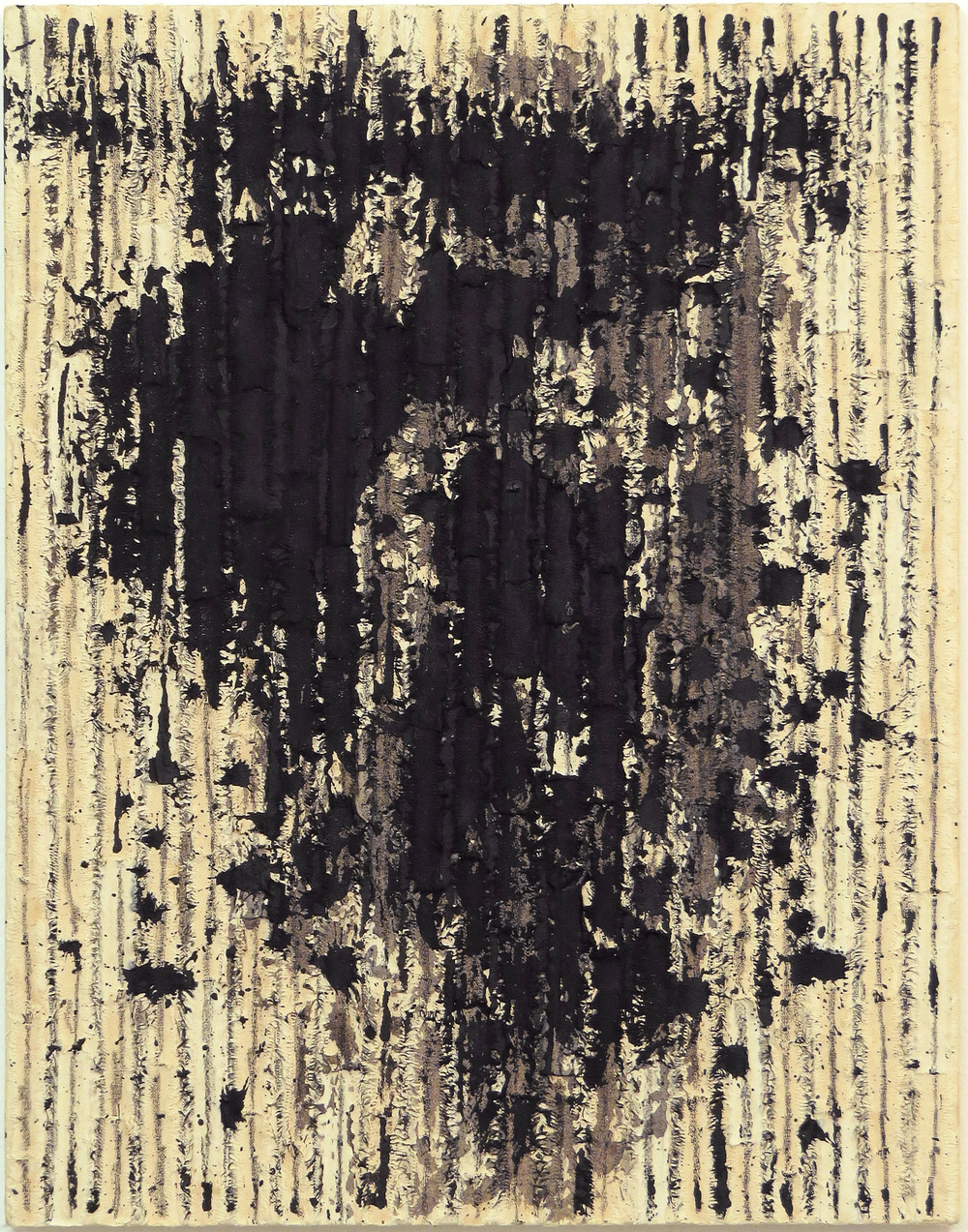 Roberto Diago,  Untitled  (from the series  Huellas/Footprints ), [Unknown] Acrylic, graphite, and linen on linen, 18-1/8 x 14-1/4 inches