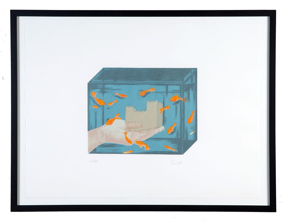 "Sandra Ramos,  Untitled  (from the ""Cuban Print Portfolio""), 1998 Serigraph printed by hand with 5 screens, 7 colors with varnish overlay, 30 x 22 inches Edition 19 of 45, with 5 APs"