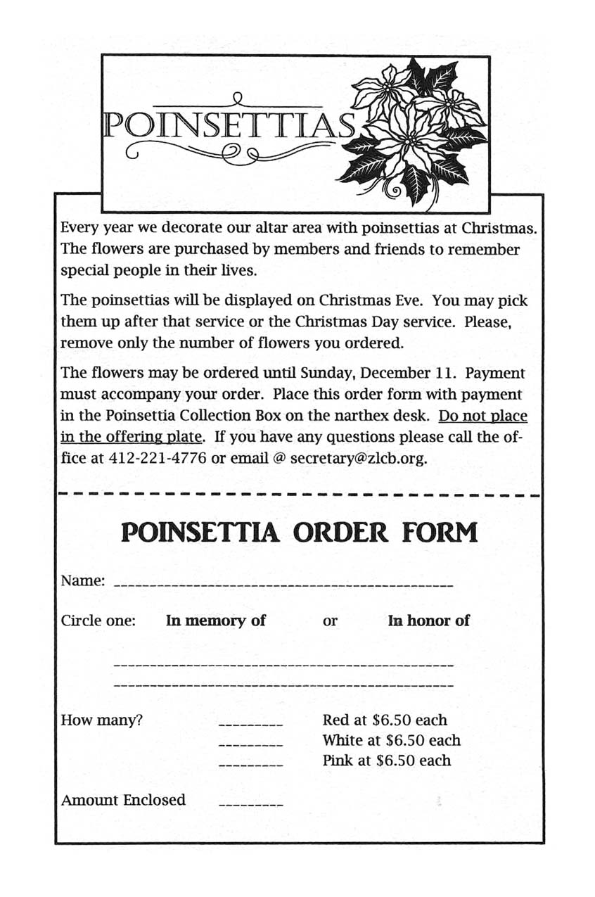 Poinsettia Order Form Now Online Zion Lutheran Church