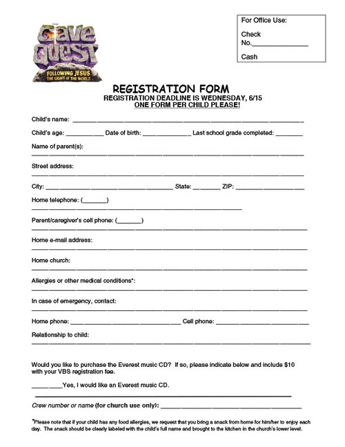 Vbs 2016: Cave Quest Registration Form — Zion Lutheran Church