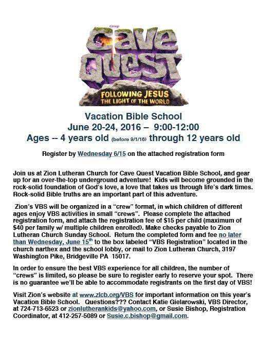 Vbs 2016 cave quest introduction letter zion lutheran church altavistaventures Images