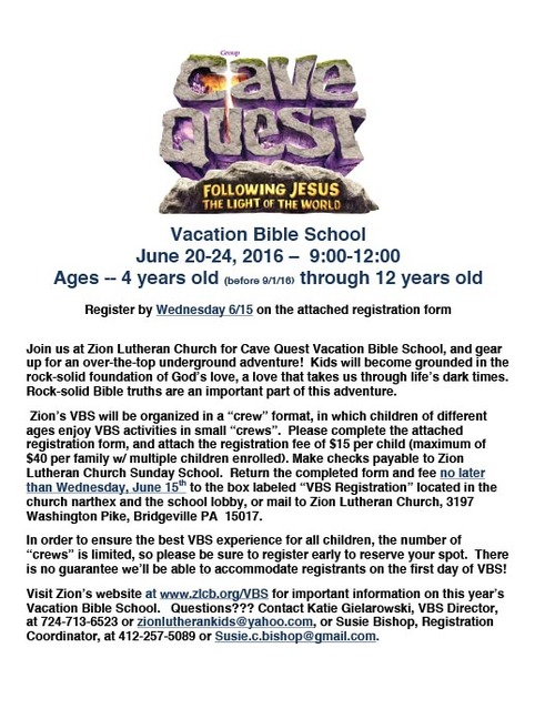 Vbs 2016 cave quest introduction letter zion lutheran church thecheapjerseys Images