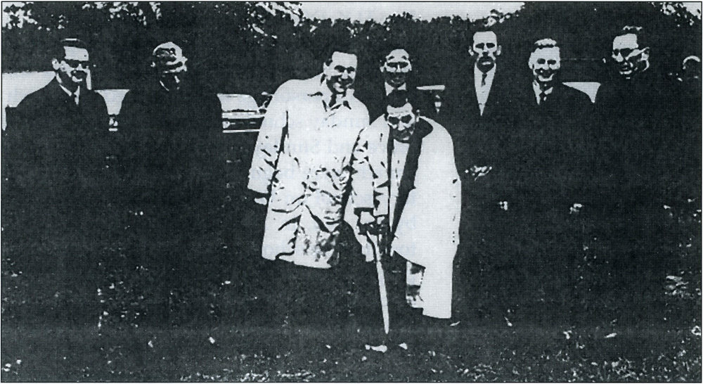 Groundbreaking 1966 Left to Right-Simon Kern, Louis Erbrecht, Norman Erbrecht, Louis Regine, Rev. H.K. Dietrich Jr., Clyde Oelschlager, Ray Colin, Louis Behling.