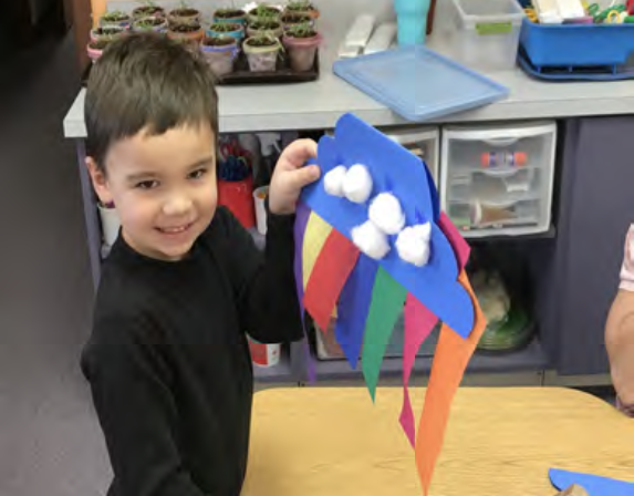 Maksin was making a rainbow today. We learned that the rainbow is a sign of God's promise to never flood the earth again.