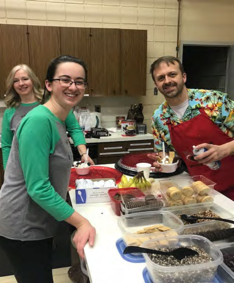 A behind the scenes look at the assembly line of our awesome sundaes. A huge thank you to Pastor and Anna for helping us make our event such a success.