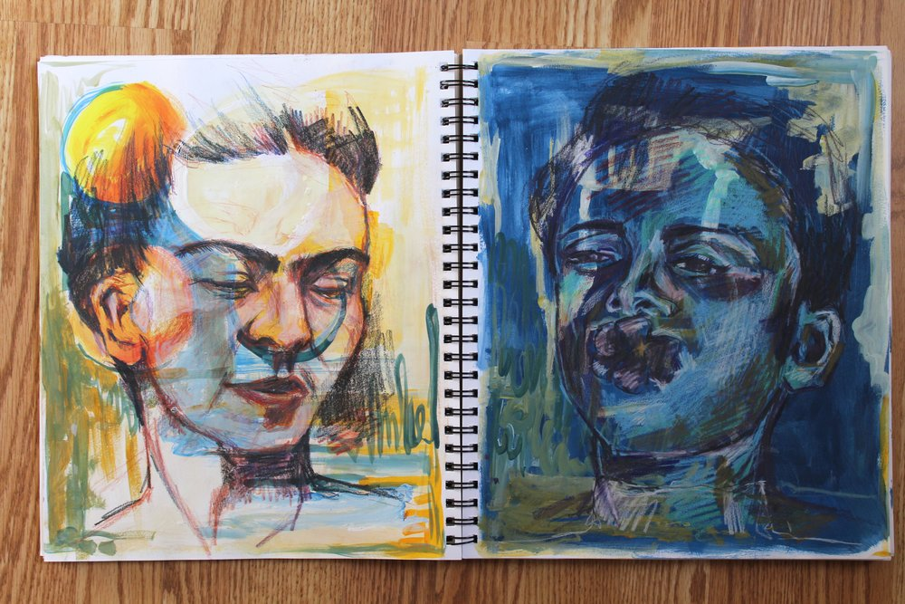 Frida on the left. Acrylic, Colored Pencil, Watercolor