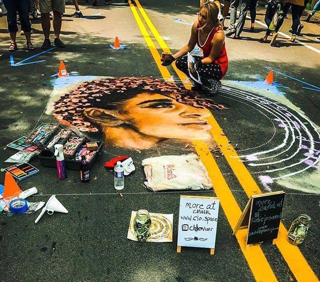 Chalk painting at Park Ave Fest 2017, Rochester NY. Collaboration with  Katie Jo Sand