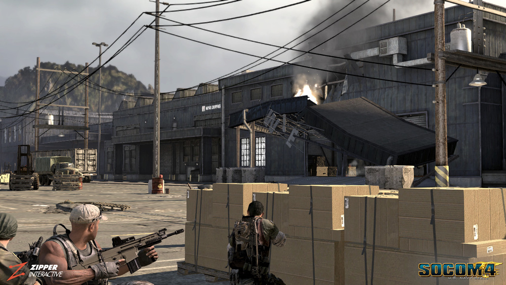 I was responsible for architecture, world building, and the modeling/ texturing of multiple warehouses featured in this level. The most fun & challenging aspect was modeling of the destruction states. View of the destruction outside.