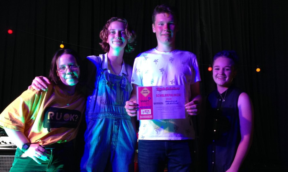 Winners are Grinners .  From left to right Imogen Lau, Chloe Manners, Tim Schilperoort, Paris Sparks