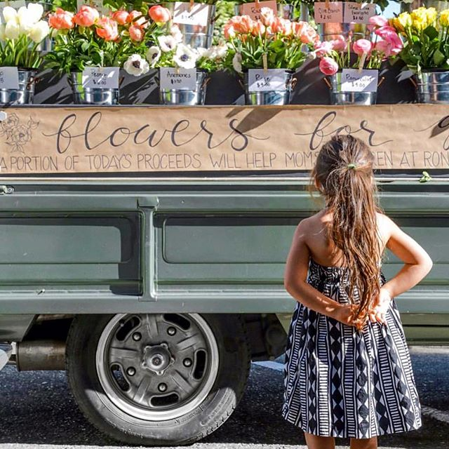 Correction - this precious flower truck had some mechanical issues and won't be able to make it to the shop today. But stayed tuned for their next visit.