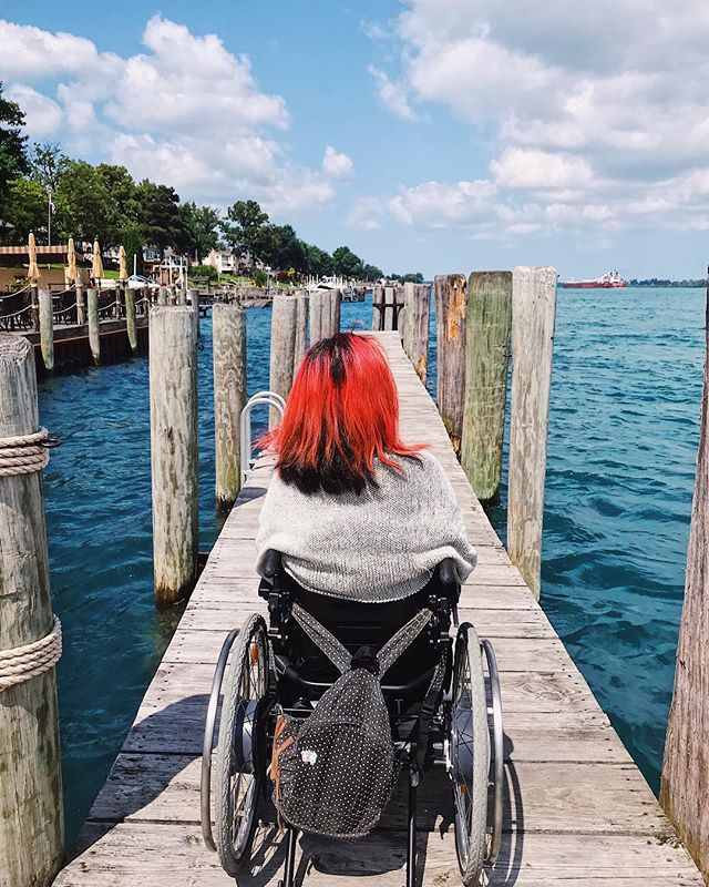 "Sitting on the dock of the lake. . ""When the mind is silent like a lake the lotus blossoms."" -Amit Ray #latergram #wheelchairtravel . . . . #wheelchairlife #wheelchairgirl #accessibletravel #travelblogger #michigan #puremichigan #lakehuron #beboundless #travellikeagirl #girlswhowander #365dayswithadisability #femaletravelbloggers #wheeliesaroundtheworld #instagood"