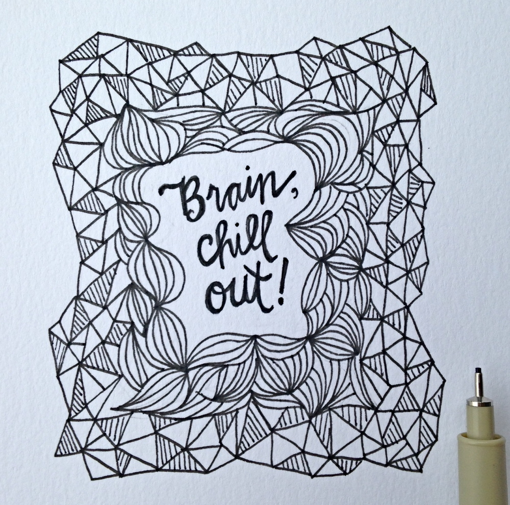 Hand illustrated doodle design Brain Chill Out