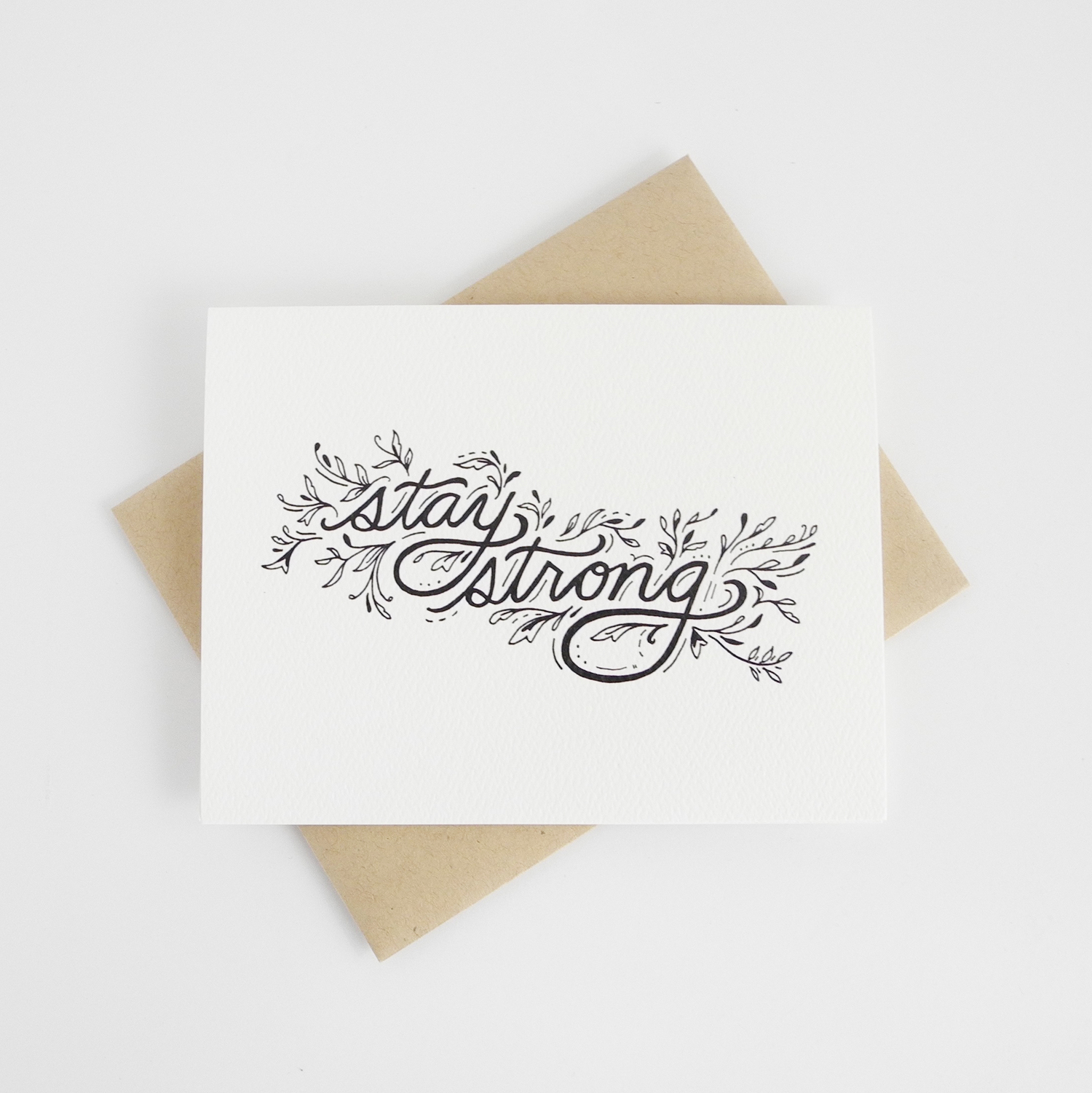 Stay Strong Hand Illustrated Greeting Card Doodle Bubble Designs