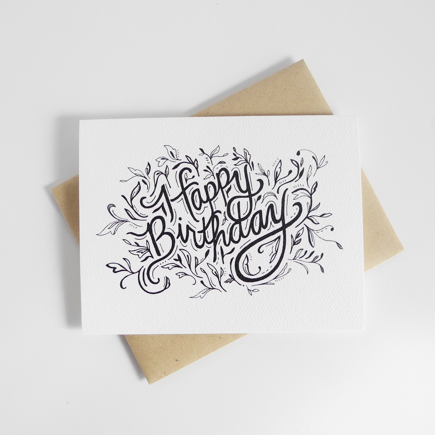 Happy Birthday No 2 Hand Illustrated Greeting Card Doodle Bubble Designs