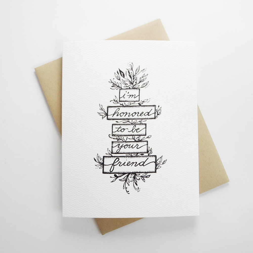 Honored To Be Your Friend Hand Illustrated Greeting Card Doodle