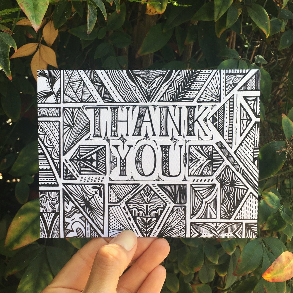 Thank You No 1 Hand Illustrated Greeting Card Doodle Bubble Designs