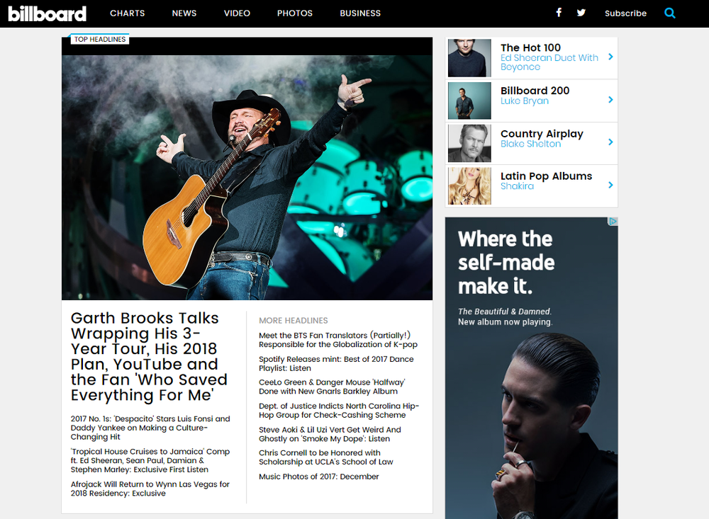 "Amada Records' Album Featured On The Homepage of Billboard ""Top Headlines"""