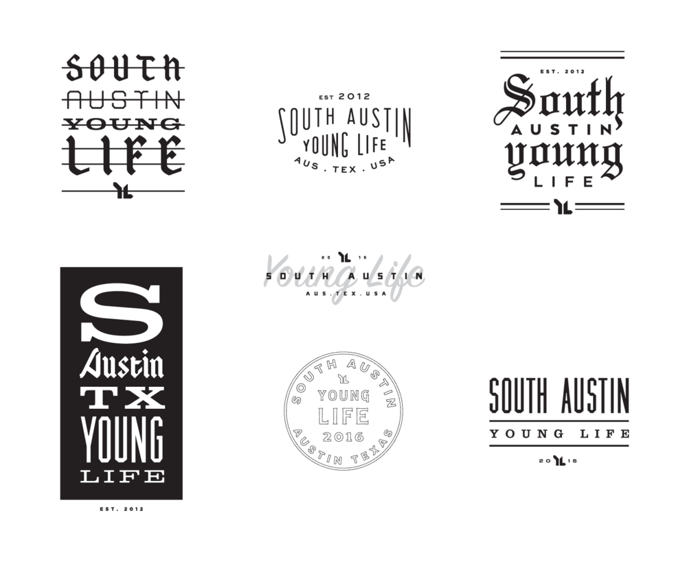 Series of graphics for South Austin Young Life apparel.